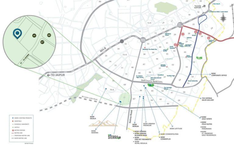 M3M Sierra 68 Gurgaon, Sohna Road Flats & Apartments, Luxury-Location-Map