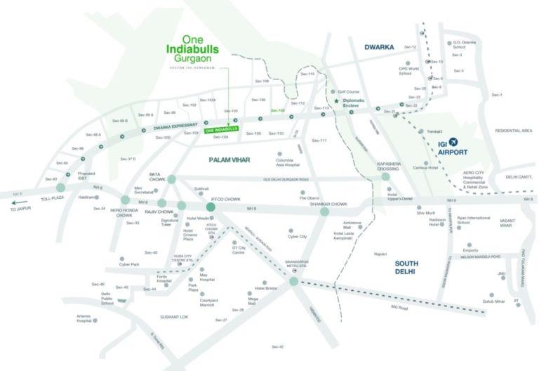 One Indiabulls Gurgaon Dwarka Expressway, Gurgaon Apartment, Residential-Location-Map