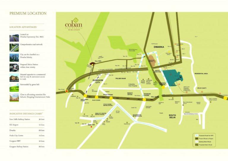 Pareena Coban Residences Dwarka Expressway, Gurgaon Apartment, Residential-Location-Map