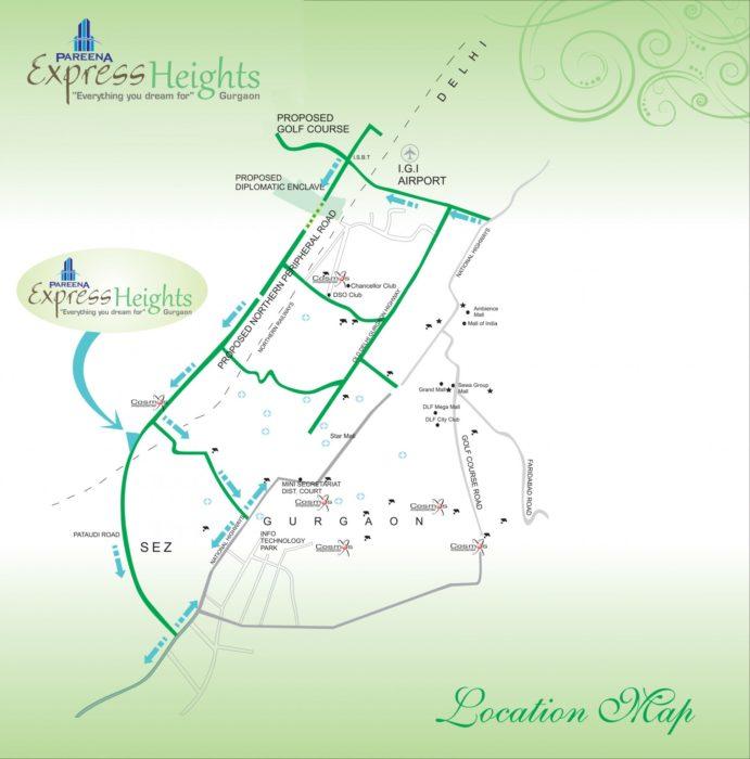 Pareena Express Heights Dwarka Expressway, Gurgaon Apartment, Residential-Location-Map