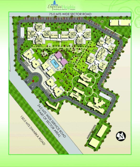 Pareena Express Heights Dwarka Expressway, Gurgaon Apartment, Residential-Site-Plan