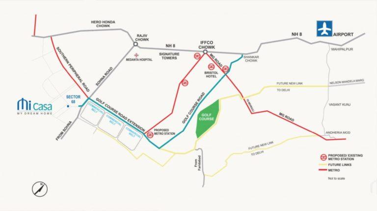 Pareena Micasa Gurgaon, Sohna Road Flats & Apartments, Luxury Location-Map