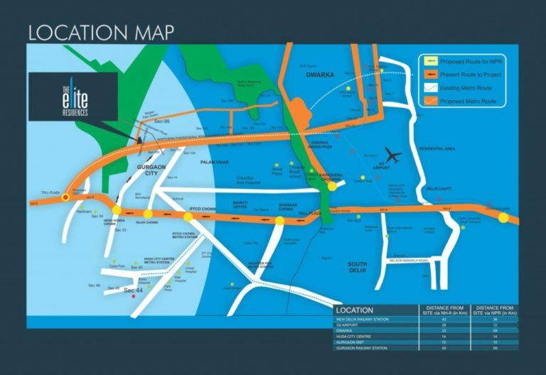Pareena The Elite Residences Dwarka Expressway, Gurgaon Flats & Apartments, Luxury-Location-Map