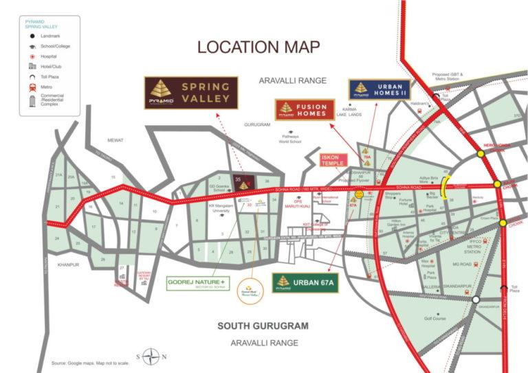 Pyramid Spring Valley DDJAY Affordable Plots Sector 35 Sohna Affordable, Affordable Plots Location-Map