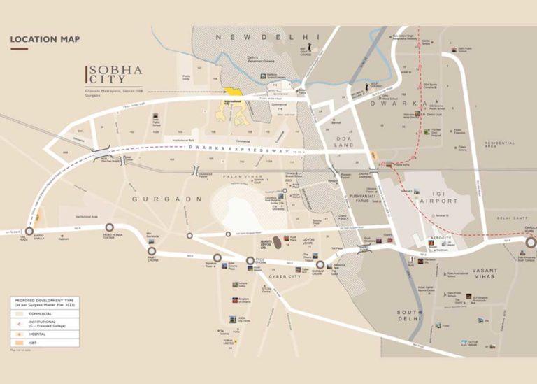 Sobha City Dwarka Expressway Gurgaon Apartment Residential-Sector-108 Location-Map