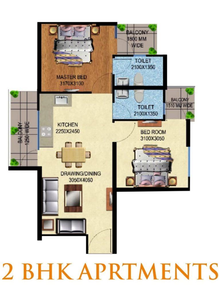 Mahira Homes 63A 2 BHK Floor Plan Layout