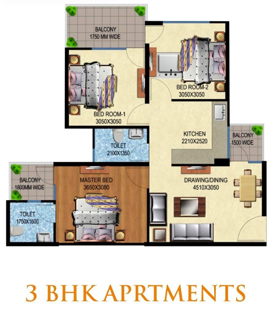 Mahira Homes 63A 3 BHK Floor Plan Layout